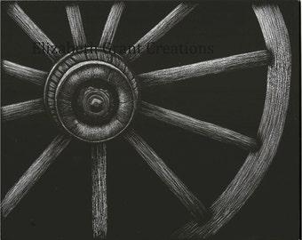 Framed Wagon Wheel Scratchboard Art 8x10