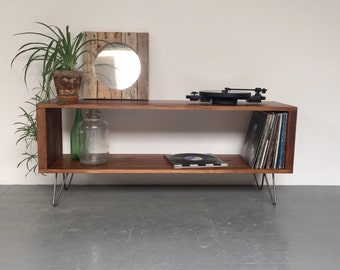 Stanton Large Record Player Stand, Vinyl Storage Cabinet, Console Coffee Table on Mid Century Hairpin Legs.