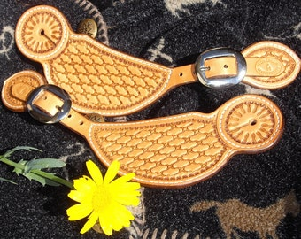 Western Spur Straps, Leather, Cowhide, Barbwire Stamp Basket Weave, Cowgirl, Barrel Racer, Rodeo