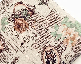 Vintage Newspaper Cotton Linen Fabric Shabby Chic Rose Newspaper Fabric for Cloth Curtain Quiltting - 1/2 yard f234