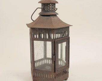 Weathered Red Tin Lantern