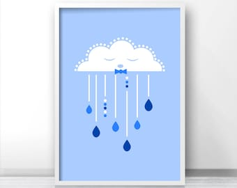 Boy Nursery Art Print, Cloud Nursery Wall Art, Printable Nursery, Baby Boy Nursery Cloud Art, Boy Nursery Decor, Nursery Print for Baby Boy