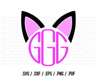 Cat Ears Circle Monogram Frame Design Files, Use With Silhouette Software, DXF Files, SVG Font, EPS File, Svg Font, Silhouette - CA289