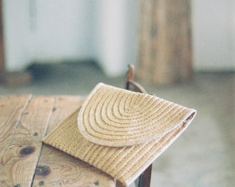 mediterranean vintage wicker clutch