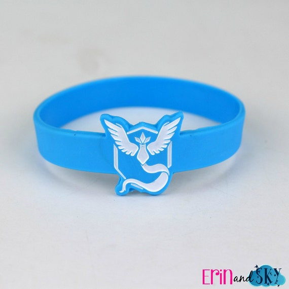 Team Mystic Wristband - FREE SHIPPING - Pokemon GO Inspired Bracelet - Blue Team Pokemon Gift - Geeky Video Game Gamer Rubber Band Bracelet
