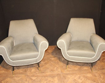 Italian Mid-Century Grey Pair of Chairs In The Style of Gigi Radice