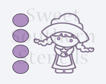 Little Pilgrim Girl Thanksgiving PYO Cookie Stencil