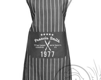 Kitchen apron, personalised, grey with pinstripe