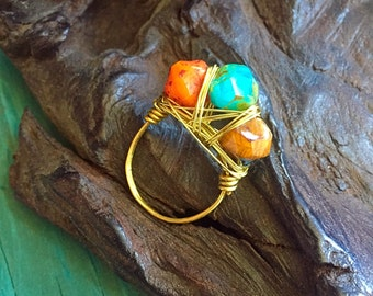 Boho Wire Wrapped Czech glass and brass Ring size 7.25 Amber, turquoise and tangerine glass ring