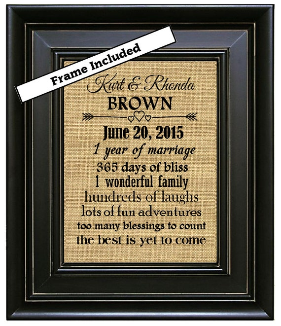 Unique First Wedding Anniversary Gifts: FRAMED Personalized Burlap 1st Wedding Anniversary Gift/1st