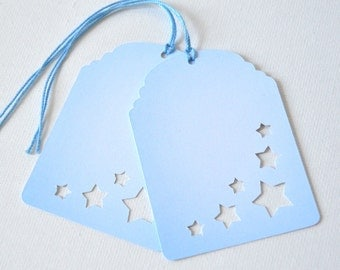 Cloudy Star Tags Set of 10: paper, cut out, sky blue, baby shower - LRD001TG