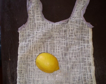 Fruits and vegetables upcycled lace shopping bags