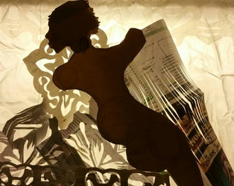 Dark Lady Lounge. Giclée fine art print limited edition, from original ephemeral silhouette of cut paper on glass