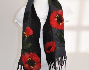 Scarf POPPY-SEED FLAKES / Handmade felted scarf / Wool Scarf