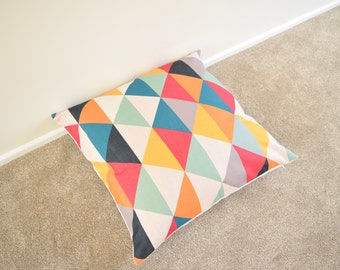 Multi Coloured Geometric/Scandinavian Cotton Linen Floor Cushion/Pillow Cover 26 x 26""