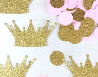 Princess Baby Shower Decorations | Crown Confetti | Baby Girl | Birthday Decorations | Princess Confetti | Gold Glitter | Girl's Birthday
