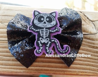 girls black cat costume headband, baby girls halloween bows, glitter bow headband, witch headbands, pumpkin patch outfit, cat hair clips