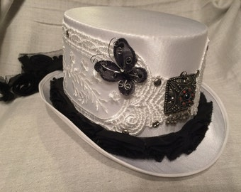 White Satin Top Hat with Butterflies, White Lace