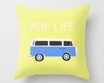 Blue volkswagen van pillow-Yellow pillow-Pop art pillow-Retro-Etsy gift-16x16 pillow-18x18 pillow-20x20 pillow-Cool modern pillow cover