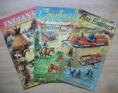 """3 Vintage Punch-Out Books, """"Giant Funtime Books"""" Cowboys 1955, Indians 1956, Fire Engines 1958."""