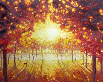 Print on Canvas - King of the Glowing Wood - golden autumn landscape