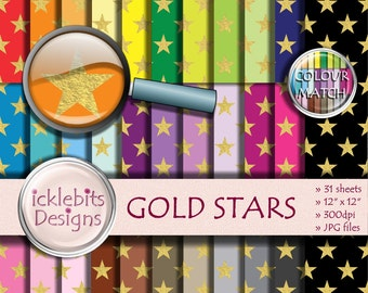 "Gold Stars Digital Paper Pack ~ ""GOLD STARS"" ~ 31 Sheets ~  Star digital paper ~  night sky digital paper ~ Rainbow Paper ~ Design #113"