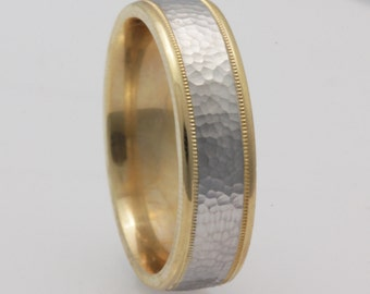 6mm Two Tone 14K Yellow Gold /White Gold Hammered Band, Wedding Band, Brushed Finish, Milgrain  6mm Comfort Fit, Two Tone Ring,