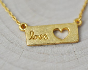 Sterling Silver Love Necklace, Brushed Matte Gold Necklace, Name Plate Necklace, Love Necklace, Heart Necklace, 100% Sterling Silver Jewelry
