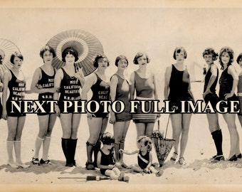 "1926 Balboa Beach CA Bathing Beauties Vintage Panoramic Photograph 32"" Long"
