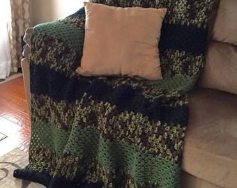 Crocheted large camoflauge blanket