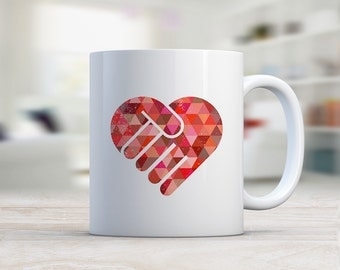 Red Hands Abstract Mug/ Ceramic Mug/ Coffee Mug/ Red Heart Love Mug/ Romantic Gift/ Coffee Lover Gift/ Love Mug/ Heart Mug/ Red White Mug