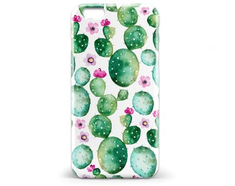 1438 // Cactus Watercolor Green Pink Flower Phone Case iPhone 5/5S, 6/6S, 6+/6S+, 7/7+ Samsung Galaxy S5, S6, S6 Edge Plus, S7 Monogram Name