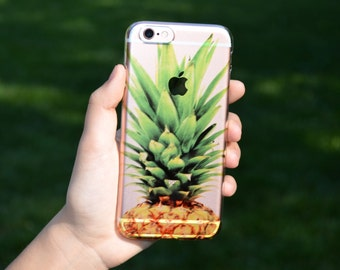 5051 // Pineapple Clear Case Custom Case Personalize iPhone 6, 6S Case iPhone 6 Plus Case ***NOT REAL GLITTER***