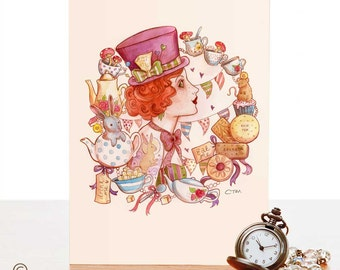 A6 Greeting Card - Mad Hatter - Alice in Wonderland - Steampunk Watercolour Pin Up Art- Inspired by Victoriana & Tattoo culture