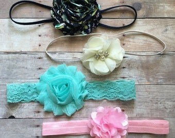 Baby Girl Headband Set, Shabby Chic Headbands, Newborn Headbands, Aqua, Navy, Ivory, Pink Headbands, Baby Shower Gift, Baby Headbands