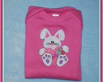 Baby Girls Long Sleeve Lap Shoulder Bodysuit, Applique Bunny, Size 6 months