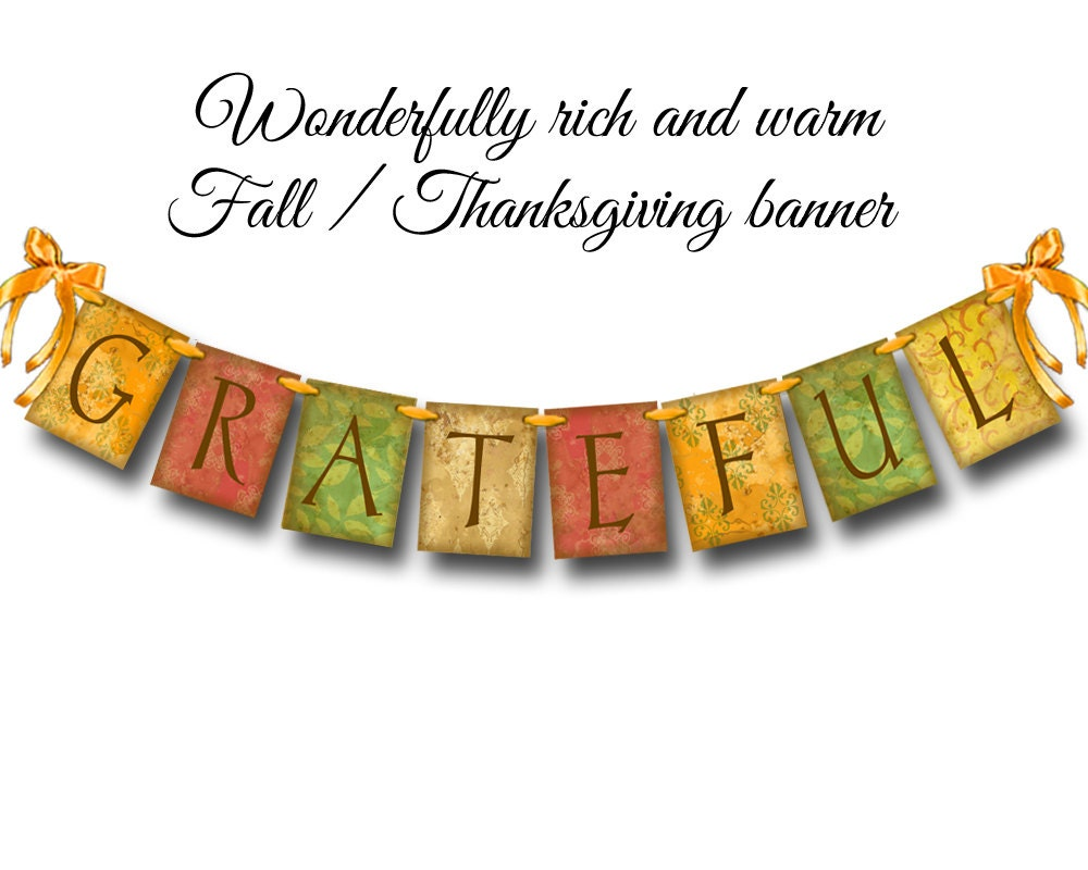 Grateful banner Thanksgiving Fall colors fall decorating