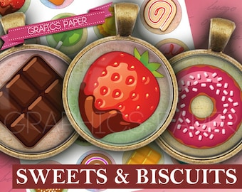 "Sweet Biscuits images 1 inch Circles, 25mm  1.5"", 1.25"", 30mm circles Digital Collage Sheet, Pendants, Bottle Caps, Instant Download - td357"