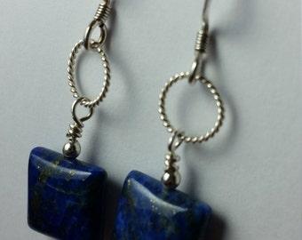 On SALE****Blue Lapis Pillow Bead Sterling Silver Earrings