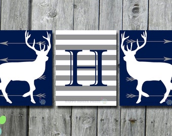 Woodland creature Nursery printable, navy and white stripes,deer crib bedding, gray downloadable prints, instant download, monogram