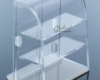 Dollhouse Miniatures Acrylic Curve Openable Doors Bakery Display Showcase Shelf Decorating Supply