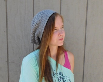Crochet hat - slouchy hat - gray slouchy hat - winter accessories - fall fashion - gray accessory