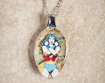 Wonder Woman on DC Comics 3D Upcycled Spoon Necklace or Keychain