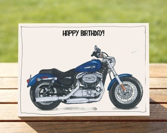 """Motorcycle Birthday Card   Sportster 1200   A6 - 6"""" x 4"""" / 103mm x 147mm   Motorbike Gift Card, Motorcycle Gift Card"""