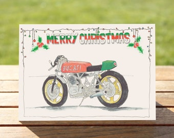 "Motorcycle Chistmas Card | Ducati Cafe Racer| A6 - 6"" x 4"" / 103mm x 147mm 