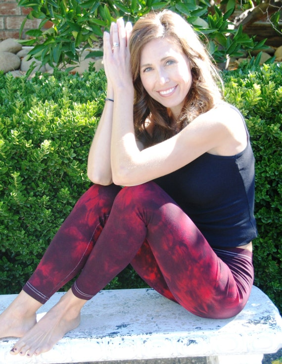 Tall Twilight Red Tie Dye Yoga Leggings including Extra Long and Plus Size by Splash Dye Activewear