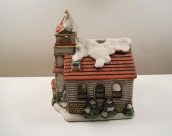 1986 Lefton Bisque Porcelain Church Candle-holder #5817 / Hand-Painted