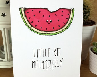 A5 Illustration Wall Art Typography Watermelon Hand drawn art piece cute quote quirky gift
