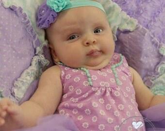 Lavender/Aqua Kara Baby Flower Headband Photo Prop
