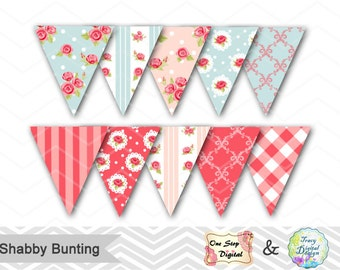 Instant Download Shabby Chic Bunting, Printable Shabby Chic Banner, Tea Party Bunting, Blue Pink Flower Banner, Shabby Party Banner 00415